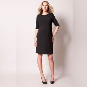 Seraphine Black Peplum Maternity Dress